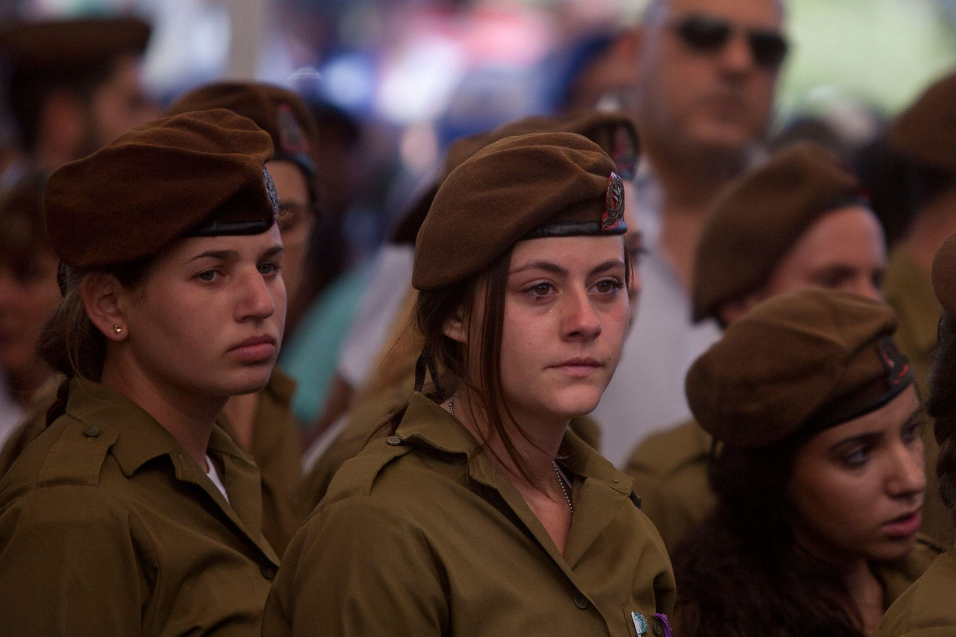 Israeli soldiers mourn during the funeral of Israeli soldier Moshe Malko on July 21, 2014 in Jerusalem, Israel.